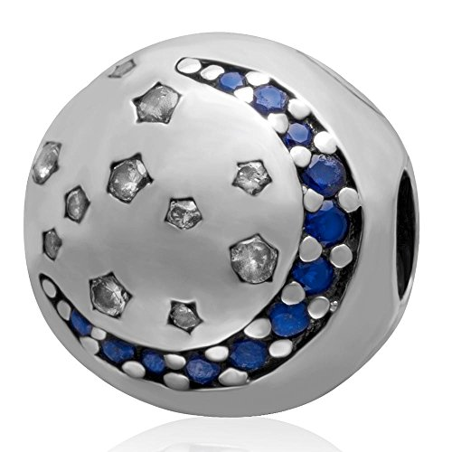 - Blue Moon &Clear Star Clip Charm 925 Sterling Silver Stopper Beads fit for DIY Charms Bracelets