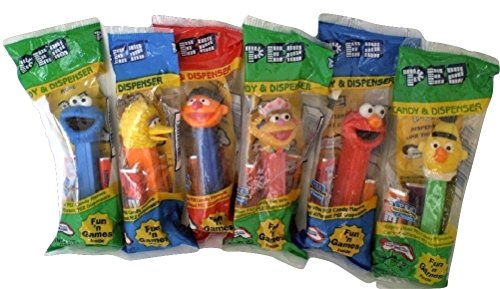 Sesame Street Pez Candy Dispensers: Cookie Monster, Elmo, Big Bird, Bert, Ernie, Zoe Set of 6 (Elmo Cookie Bird Big)
