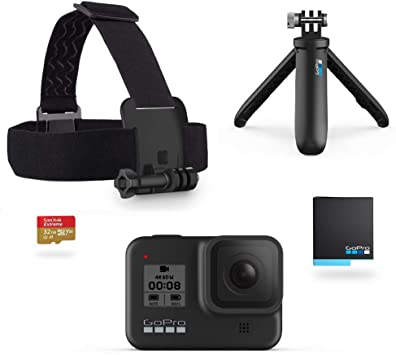 Amazon Com Gopro Hero8 Black Official Holiday Bundle Includes Hero8 Black Camera Plus Shorty Head Strap 32gb Sd Card And 2 Rechargeable Batteries Camera Photo