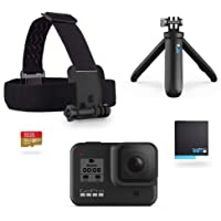 GoPro CHDRB-801 Hero8 Black Action Camera Plus Shorty, Head Strap, 32GB SD Card, and spare Rechargeable Battery