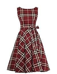 MARSEN Women's Tartan Boat Neck Billowing Skirts Checked Dress