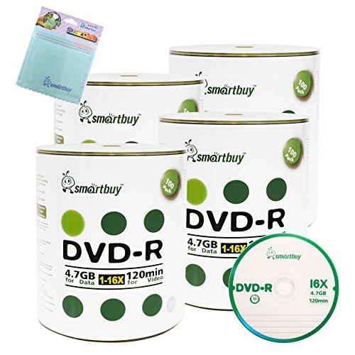 Smartbuy 400-disc 4.7GB/120min 16x DVD-R Logo Top Blank Media Record Disc + Free Micro Fiber Cloth by Smartbuy