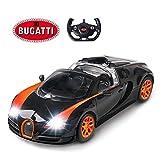 Bugatti Remote Control Car | Rastar 1:14 Bugatti Veyron 16.4 Grand Sport Vitesse RC Car, Model Toy Car – Black/Orange