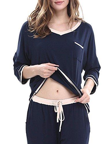 Dromild Womens V-Neck Pajama Set Long Sleeve Top Pants 2 Piece Pj Loungewear