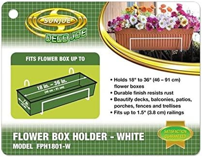 Plastic Flower Box Holder Deco Joe Durable Resists Rust 14in x 4in White Finish
