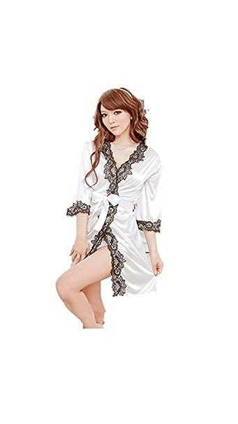 Ropa de Dormir Kimono de Encaje Sexy Ropa de Noche de satén de Seda Bata de baño G de Cuerda: Amazon.es: Ropa y accesorios