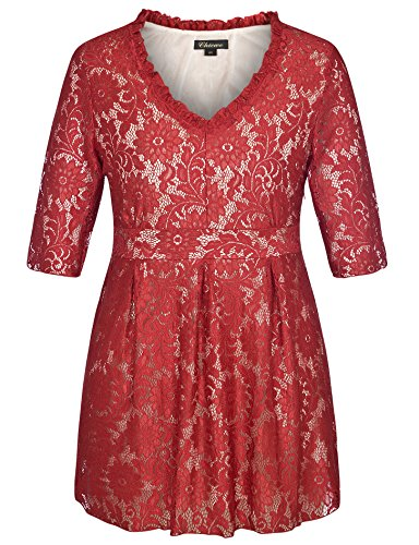 Chicwe Women's V Neck Full Lined Lace Plus Size Tunic Top Ruby Red 3X