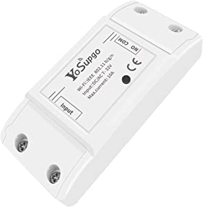 WiFi Momentary Inching Relay Self-Locking Switch Module WiFi Relay Switch Module for Household Appliances, Compatible with Alexa Echo Google Home, DC/AC 7-32V DIY Switch Module for Garage Door Opener