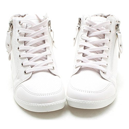 a7562f97b94dd EpicStep Women s Casual High Tops Zip Lace Up Hidden Wedges Shoes Fashion  Sneakers cheap