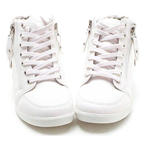 Epicstep Donna Casual Alte Cime Zip Stringate Zeppe Nascoste Scarpe Moda Sneakers Bianche