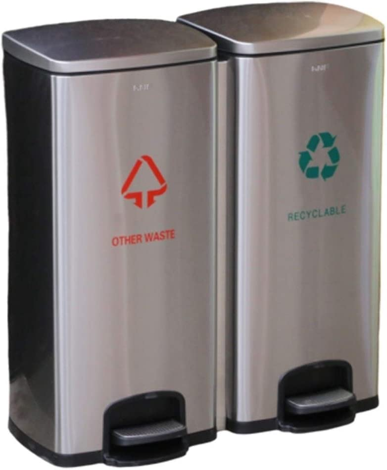 Cubos de Basura para Exterior Contenedores de reciclaje, Bote de basura al aire libre, Clasificación de bote de basura pedal de acero inoxidable al aire libre con tapa de basura Basura y