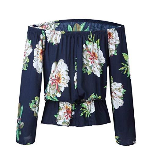 Spcial Style Haut Fleur Automne Motif Printemps Elgante Shirt Blouse Encolure Carmen Femme Chemisiers Loisir Vintage Bateau Off Shoulder Marine Manches Tops Mode Longues 76a7fwqZ