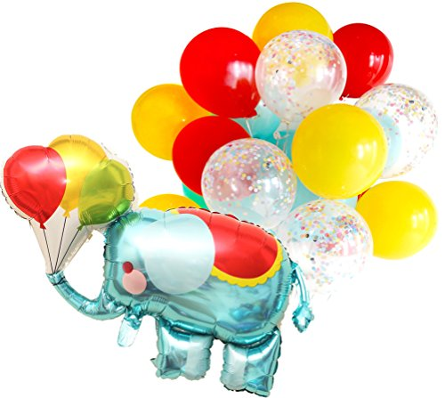 Confetti Balloon Kids Birthday Party Elephant Balloon Animals Theme Decoration (Confetti already filled, No more mess, Thickened 12