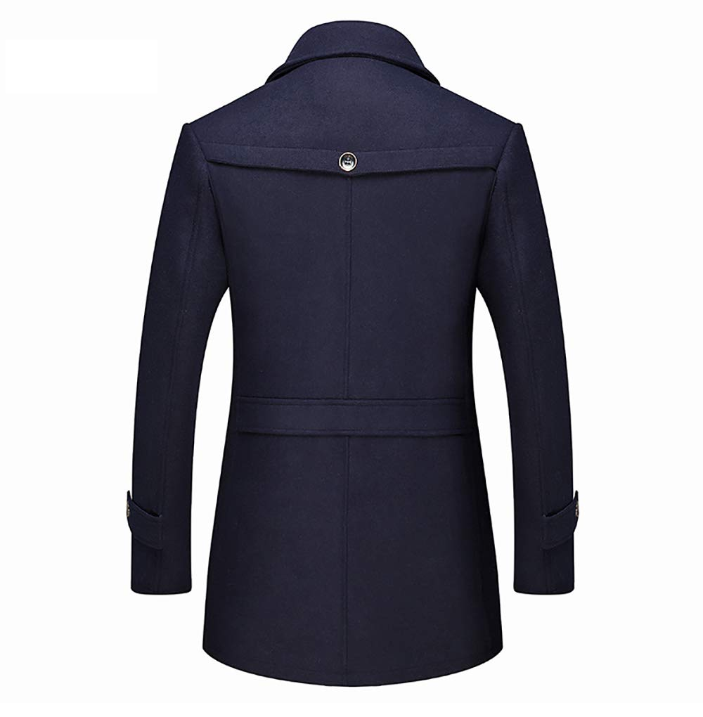 Trench Manteau en Laine pour Hommes d'hiver élégante écharpe Simple Boutonnage Laine Walker Manteau Veste épais Court-vêtement Chaud Black