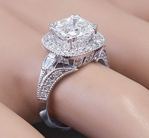 18k White Gold Asscher Cut Forever One Moissanite and Diamond Engagement Ring Etoile 2.85ctw