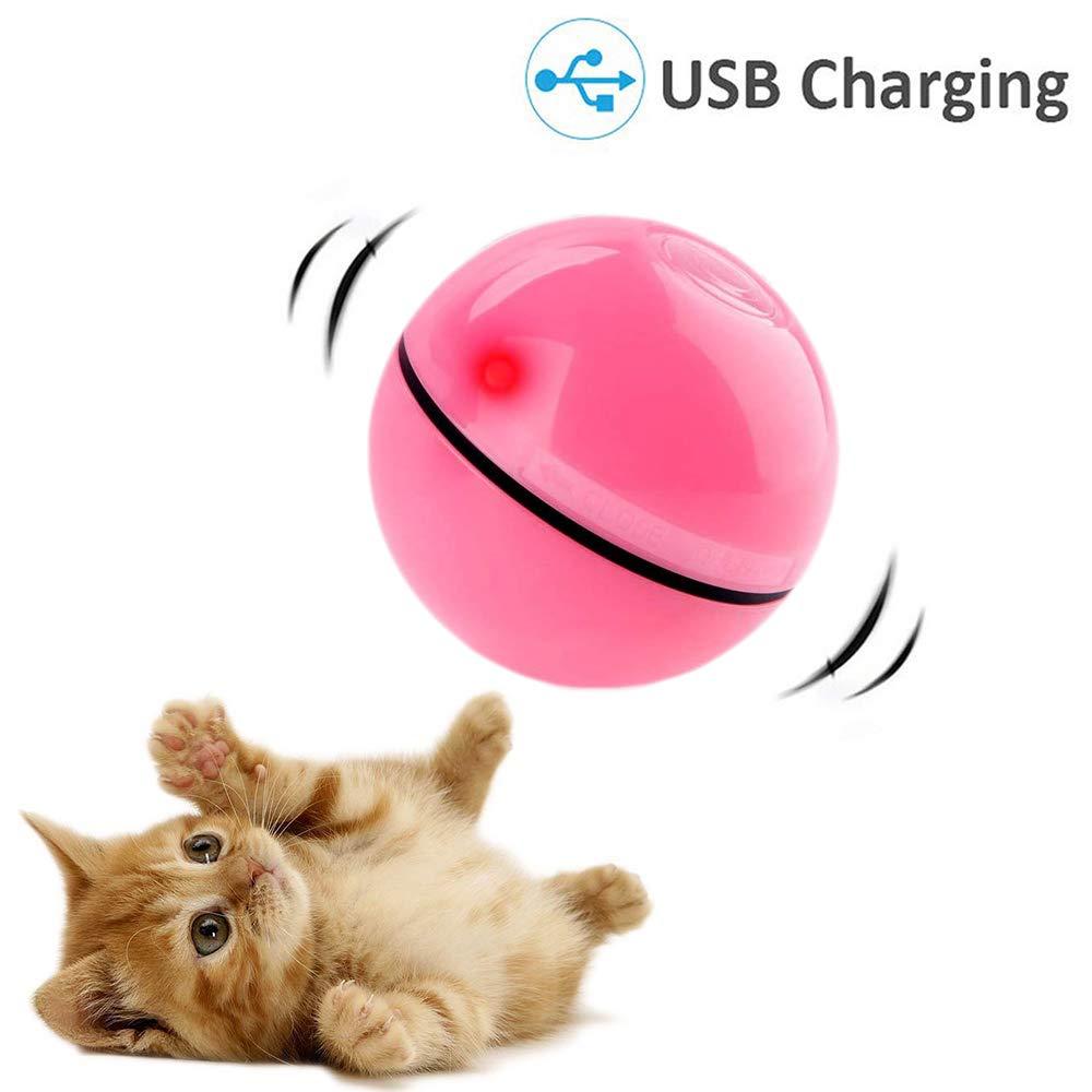 CHOKMAX Chaser Giocattolo LED Sfera per Gatti Interactive Automatico di Rotolamento Ricaricabile Intrattenimento Leggero Pet Esercizio per Cani e Gatti