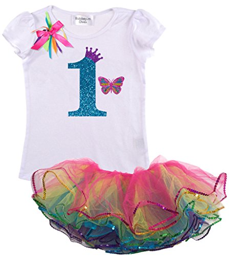 Princess Bubblegum Clothes (Bubblegum Divas Baby Girls 1st Birthday Rainbow Princess Butterfly Tutu Outfit 12)
