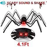 "50"" Giant Hairy Black Spider Bright - Red LED Spider Eye with Horror Sound and Foldable Large Fake Spider - Creepy Halloween Decorations"