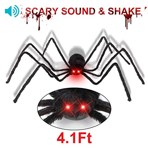 Y- STOP 50 Inch Hairy Halloween Spider,Black Hairy Spider/Tarantula with LED Eyes/Horrible Sound,Best Halloween -