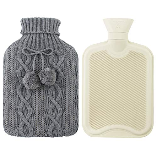 Hot Bottle Cover Knitted Water - Athoinsu 2 Liter Hot Water Bottle Premium Rubber Pure with Colored Knitted Cover Heat Preservation, Gray