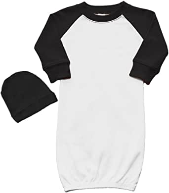 Laughing Giraffe Raglan Baseball Blank Baby Long Sleeve Gown with Fold-Over Mitten 0-6M