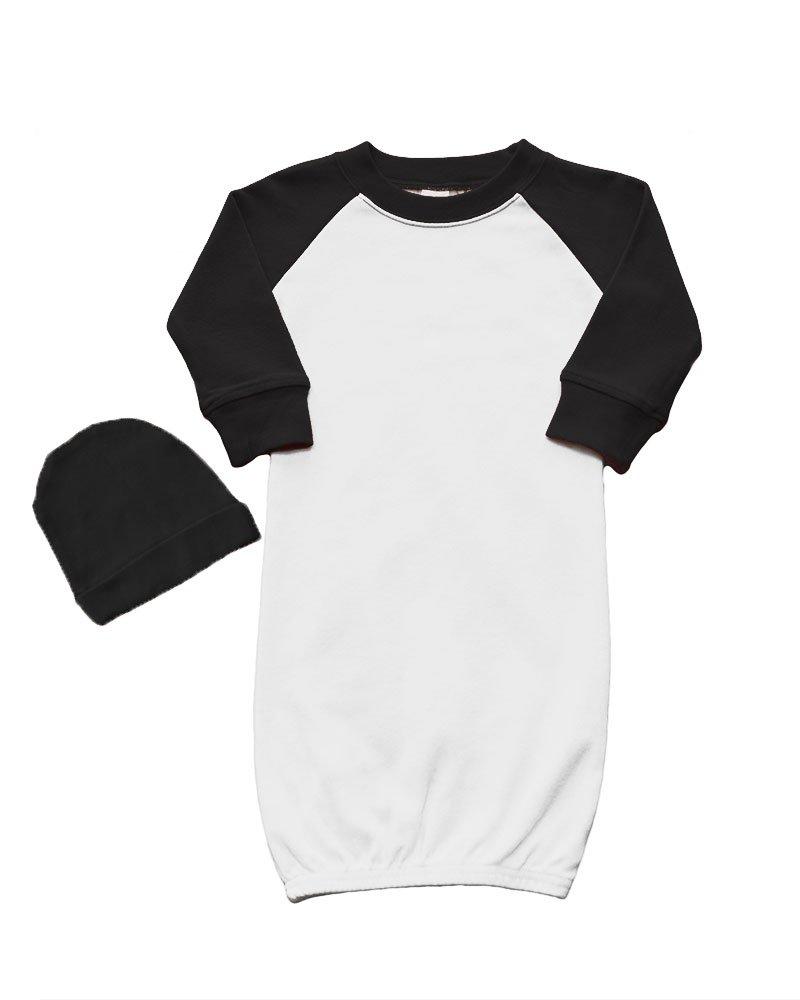 PandoraTees Raglan Baseball Baby Gown and Cap Set 0-3M White/Black