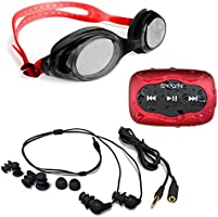 Swimbuds Headphones and 8 GB SYRYN waterproof MP3 player with shuffle feature