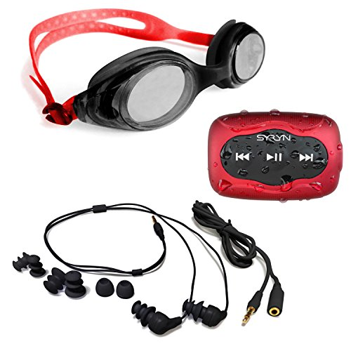 Swimbuds Headphones and 8 GB SYRYN waterproof MP3 player with shuffle feature (Mp3 Player And Radio Waterproof)