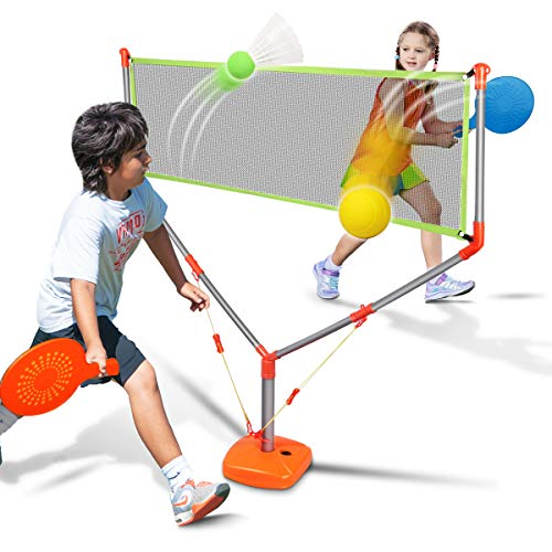 Duckura 2 in 1 Racket Game Set, Family Badminton Tennis Outdoor Play for Kids Boys Adults