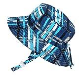 JAN & JUL Boys Summer Aqua-Dry Swim Sun Hats 50 UPF, Adjustable Foldable Packable (L/XL: 3-7Y, Blue Plaid)