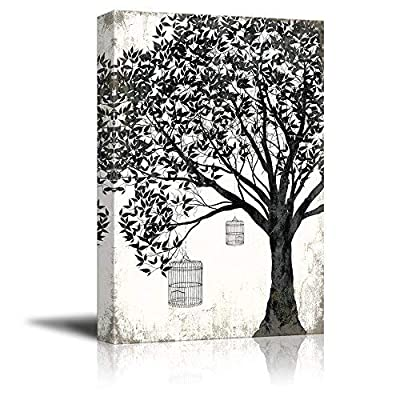 Stunning Portrait, Abstract Black Tree on Rustic Background with Bird Cages, That's 100% USA Made