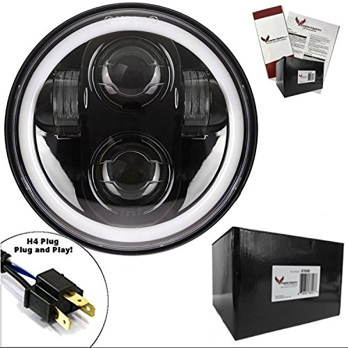Eagle Lights 5.75 inch Generation II Projection LED Headlight with White Halo Ring - for Harley Sportster, Dyna, Indian Scout and More. (Black)