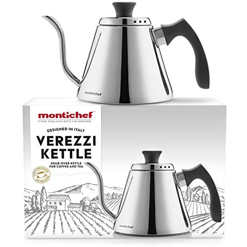 Montichef Verezzi Pour Over Gooseneck Drip Kettle for Coffee and Tea - Italian Design 1l Stainless Steel Stovetop Hand Brewer Pot - High Precision Spout Water Flow and Increased Temperature Stability