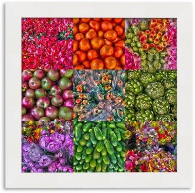 Quadro para Quarto - Frutas Flores Legumes - Moldura 4 cm