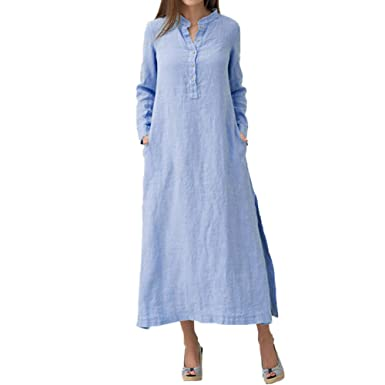 5dbfafad2a3 Women s Shirt Dress Button-Down Blouse Dress Side Slit Loose Fit Retro  Casual Long Sleeve with Pockets at Amazon Women s Clothing store