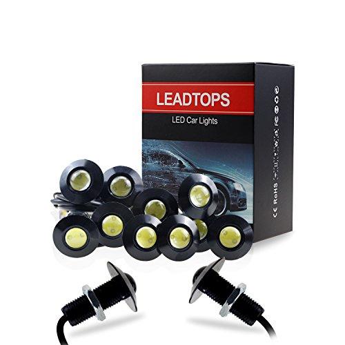 LEADTOPS 10-pack DIY 12V Ultra thin 23mm Eagle Eye Fog Tail DRL Daytime Running Lights (White, Black)