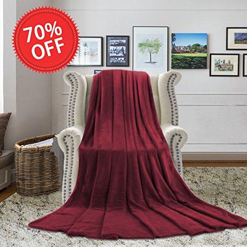 H.VERSAILTEX Burgundy Blanket Throw Velvet Plush Ultra Soft