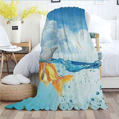 - Ylljy00 Sea Animal Decor,Throw Blankets,Flannel Plush Velvety Super Soft Cozy Warm with/Cute Goldfish with Shark Fin on Top of The Water Fake Comic Nature Image/Printed Pattern(70