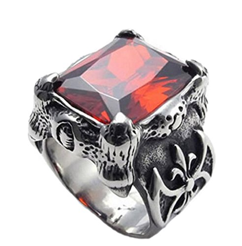 Bishilin Men's Stainless Steel Bands Retro Gothic Ruby Polished Rings Size 7