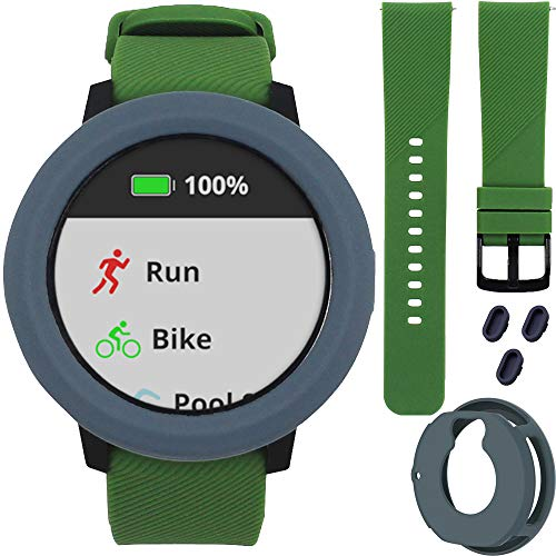 3-in-1 Sport Replacement Bundle for Garmin Vivoactive 3, Slate Shockproof Anti-Scratch Silicone Rubber Sleeve Cover Case, Green 20mm Quick Release Soft Silicone Fitness Bands , Dust Plugs Cover