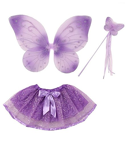 Purple Satin Butterfly Wings For Kids (iGirlDress Butterfly Wings Tutu Wand Toddler Girl Costume Dress Up 2-5T Purple)