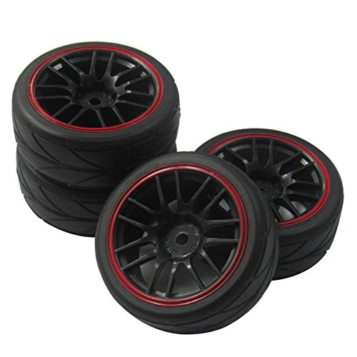 ShareGoo 12mm Hex Wheel Rims & Rubber Tires for RC 1/10 on-road Touring Drift Car (Pack of 4)