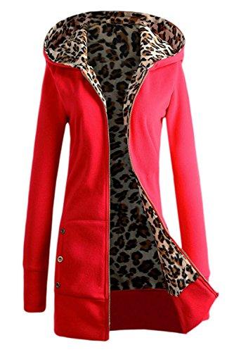 con Leopardo Casual Estampado Capucha Top La Forrado Red Invierno Mujer Externa De Capa qRU6AgTx