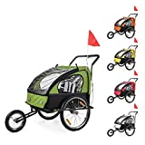 SAMAX Children Bike Trailer 2in1 Kids Jogger Stroller with Suspension Bicycle Trailer Transport Buggy Carrier for 2 Kids in Red Black - BLACK EDITION