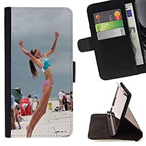 King Art - Premium-PU-Leder-Prima caja de la PU billetera de cuero con ranuras para tarjetas, efectivo Compartimiento desmontable y correa para la mu?eca FOR Samsung GALAXY G850 SM-G850F G850Y G850M- Volleyball Beach Funny Sunshine