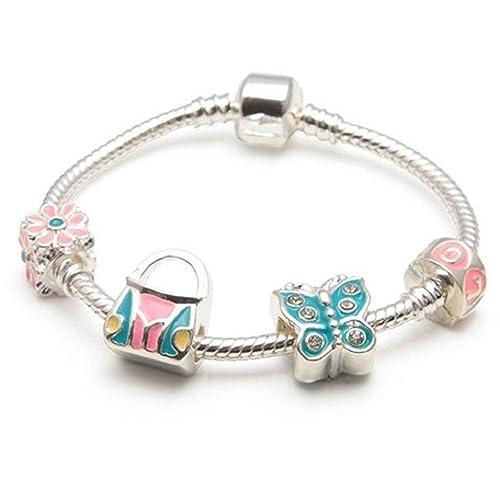 Bling Rocks Butterfly Heaven , Braccialetto in argento in stile Pandora con  charm per bambini Disponibile in altre misure, regalo ideale per Natale o  per
