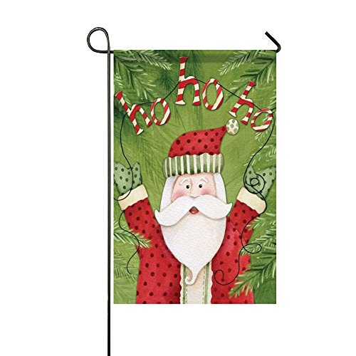 (Small Mim Ho Ho Ho Happy Santa Claus Greeting Garden Flag Holiday Decoration Double Sided Flag 12.5 x 18 Inch)