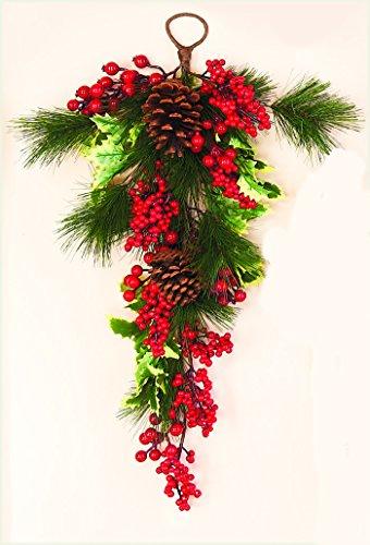 "Worth Imports Waterproof Decorative Holly Pine Berry Teardrop, 28"""