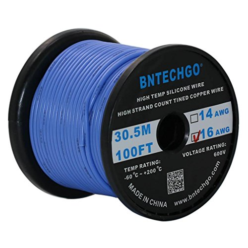 BNTECHGO 16 Gauge Silicone Wire Spool Blue 100 feet Ultra Flexible High Temp 200 deg C 600V 16 AWG Silicone Rubber Wire 252 Strands of Tinned Copper Wire Stranded Wire for Model Battery Low Impedance