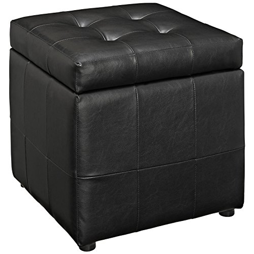 (Modway Volt Storage Upholstered Vinyl Ottoman in Black)